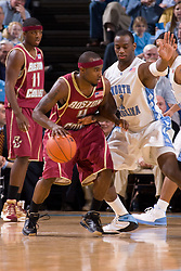 31 January 2008: Boston College Eagles guard Tyrese Rice (5) and Tar Heels guard Marcus Ginyard (1) during a 69-91loss to the North Carolina Tar Heels at the Dean Smith Center in Chapel Hill, NC.