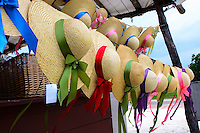 Colonial style woven hats with ribbon, Williamsburg, Virginia.