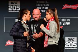 Nov 10, 2016 - New York, New York, U.S. - Joanna Jedrzejczyk and Karolina Kowalkiewicz  during press conference UFC 205  for the fans and media at the Madison Square Garden.  (Credit Image: ? Jason Silva/ZUMA Wire/ZUMAPRESS.com)