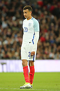 England midfielder, Dele Alli (20) standing alone during the Friendly International match between England and Portugal at Wembley Stadium, London, England on 2 June 2016. Photo by Matthew Redman.