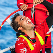 Leg 8 from Itajai to Newport, day 03 on board MAPFRE, Blair Tuke joking with to eat.a fish founded on deck. 24 April, 2018.