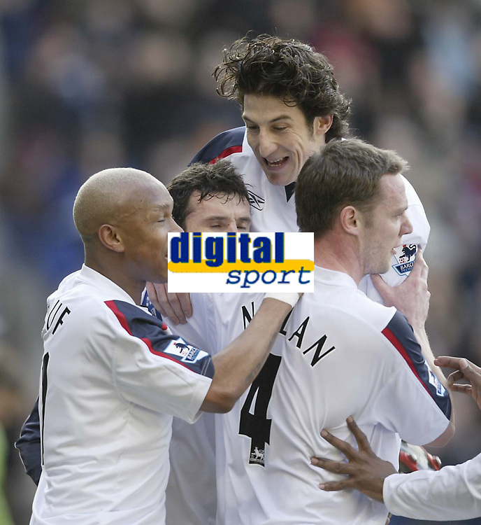 Photo: Aidan Ellis.<br /> Bolton Wanderers v Fulham. The Barclays Premiership. 11/02/2007.<br /> Bolton's new signing Andranik jumps on first goal scorer Gary Speed (C) with El Hadji Diouf and Kevin Nolan