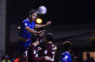 Christian Burgess of Portsmouth jumps to win a header in the box. EFL Skybet Football League one match, Northampton Town v Portsmouth at the Sixfields Stadium in Northampton on Tuesday 12th September 2017. <br /> pic by Bradley Collyer, Andrew Orchard sports photography.