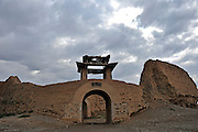 JINGTAI, CHINA - JUNE 20: (CHINA OUT) <br /> <br /> City inside 12 meter high walls<br /> <br /> The South Gate of the Yongtai Acient City is seen on June 20, 2015 in Jingtai County, Gansu Province of China. The Yongtai Ancient City, also known as the Turtle city, was built in 1608 during the Ming Dynasty (1368-1644). With a perimeter of 1,717 meters, the city wall is 12 meters in height. The city also has a six-meter wide and one-to-2.5-meter deep moat. In 2006, the city was listed as the sixth batch of nation key cultural relic preservation organ. There are more than 100 villagers still living in the city. <br /> ©Exclusivepix Media