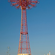 The Parachute Jump is located on the Coney Island boardwalk in Brooklyn, NY. Originally known as the Life Savers Parachute Jump, it debuted at the 1939 New York World's Fair. Although the ride has been closed since 1968, it remains a Coney Island Landmark and is recognized by the National Register of Historic Places.