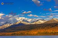 Bowman Lake in autumn in Glacier National Park, Montana, USA