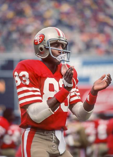 SAN FRANCISCO -  NOVEMBER 28:  Renaldo Nehemiah #83 of the San Francisco 49ers warms up before a National Football League game against the New Orleans Saints played on November 28, 1982 at Candlestick Park in San Francisco, California.  (Photo by David Madison/Getty Images) *** Local Caption *** Renaldo Nehemiah