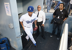 August 16, 2017 - Los Angeles, California, U.S - 16 Aug 2017. The Los Angeles Dodgers play the Chicago White Sox in the second game of a two-game series at Dodger Stadium. Pictured is new Dodger Pitcher Yu Darvish acquired from the Texas Rangers. Darvish is pitching for the first time at Dodger Stadium. (Credit Image: © Prensa Internacional via ZUMA Wire)