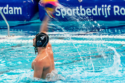 Nicolas Missy of France in action against the Netherlands during the Olympic qualifying tournament. The Dutch water polo players are on the hunt for a starting ticket for the Olympic Games on February 17, 2021 in Rotterdam