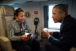 President Barack Obama talks with National Security Advisor Susan E. Rice aboard Marine One en route to Stonehenge in Wiltshire, England following the NATO Summit in Wales, Sept. 5, 2014. (Official White House Photo by Pete Souza)<br /> <br /> This official White House photograph is being made available only for publication by news organizations and/or for personal use printing by the subject(s) of the photograph. The photograph may not be manipulated in any way and may not be used in commercial or political materials, advertisements, emails, products, promotions that in any way suggests approval or endorsement of the President, the First Family, or the White House.