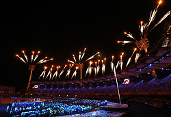 Fireworks are set off during the Opening Ceremony for the 2018 Commonwealth Games at the Carrara Stadium in the Gold Coast, Australia.