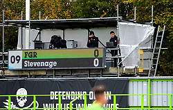 Forest Green Rovers media staff watch the match from the stands- Mandatory by-line: Nizaam Jones/JMP - 17/10/2020 - FOOTBALL - innocent New Lawn Stadium - Nailsworth, England - Forest Green Rovers v Stevenage - Sky Bet League Two