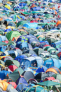 Tents,tents, tents. The view from the tower. The 2013 Glastonbury Festival, Worthy Farm, Glastonbury. 29 June 2013.
