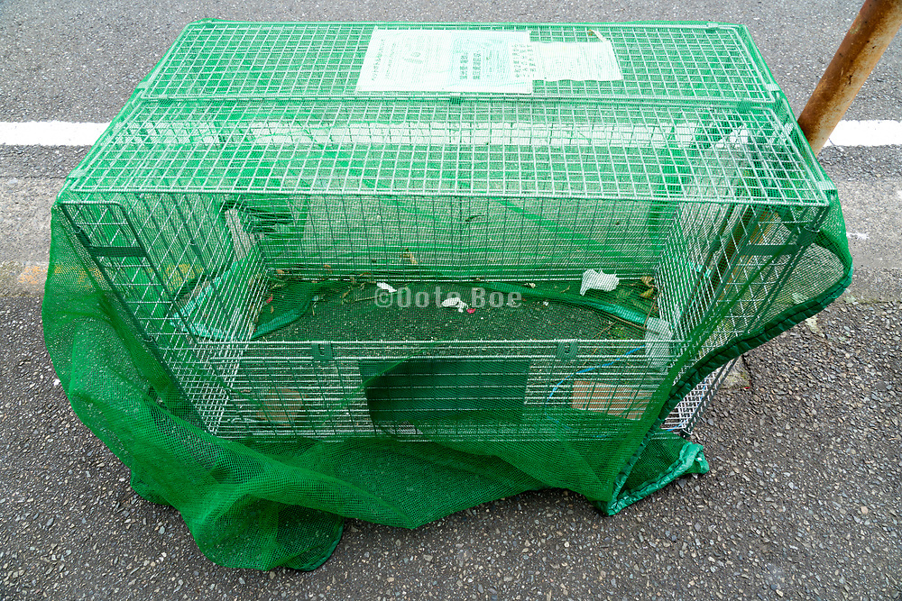 street side trash collecting container with cover net Japan Yokosuka