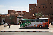 Tour coach bus, the kasbah of Taourirt, Ouarzazate, Morocco, north Africa