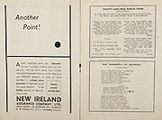 All Ireland Senior Hurling Championship Final,.Programme,.07.09.1952, 09.07.1952, 7th September 1952, .Cork 2-14, Dublin 0-7,.Minor Dublin v Tipperary,.Senior Cork v Dublin, .Croke Park, ..Advertisements, Another Point!, New Ireland Assurance Company Ltd, ..Songs, Twenty Men from Dublin Town, Dan Mairseala Na nGaedeal,