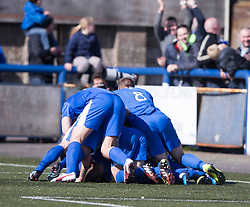 Montrose Garry Wood cele scoring their third goal. <br /> Montrose 3 v 1 Brora Rangers, Scottish League Two play-off second leg, today at Links Park, Montrose.