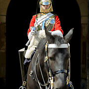 A member of the elite British Arny regiment of the Life Guards, who are part of the Household Cavalry, stand guard outside Whitehall in London, United Kingdom.