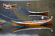 Rowboats on Agvatnet Lake above Å, Lofoten Islands, Norway.