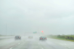 Heavy rain hinders southbound traffic on Interstate I-75 in Georgia, towards Jacksonville, FL as the remainders of Hurricane Irma move past towards the North.