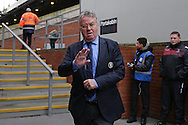 Guus Hiddink, the interim Chelsea manager arrives at Selhurst Park and waves to the Chelsea fans before k/o. Barclays Premier League match, Crystal Palace v Chelsea at Selhurst Park in London on Sunday 3rd Jan 2016. pic by John Patrick Fletcher, Andrew Orchard sports photography.
