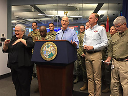 Florida Gov. Rick Scott provides an update about Hurricane Irma to reporters at the state Emergency Operations Center in Tallahassee on September 10, 2017.<br /> Florida Gov. Rick Scott provides an update about Hurricane Irma to reporters at the state Emergency Operations Center in Tallahassee on September 10, 2017. Photo by Kristen M. Clark/Miami Herald/TNS/ABACAPRESS.COM