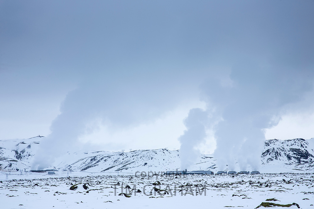 Steam rising at ON POWER Orka Natturunn, the energy of nature, green power renewable energy geothermal plant, Reykjavik, South Iceland