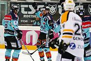 05.03.2011, Rapperswil-Jona, Eishockey NLA, Rapperswil-Jona Lakers - HC Lugano, Cyrill Geyer (l) und Michel Riesen (m, LAK) jubeln, Colby Genoway (LUG) ist enttaeuscht  (Thomas Oswald/hockeypics)