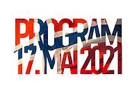 Tekst 'Program 17. mai 2021' sperret ut over fotografi av blafrende norsk flagg.