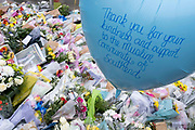Two days after the killing of the Conservative member of parliament for Southend West, Sir David Amess MP, balloon tributes from Southends Muslim community are left in Eastwood Road North, a short distance from Belfairs Methodist Church in Leigh-on-Sea, on 17th October 2021, in Leigh-on-Sea, Southend , Essex, England. Amess was conducting his weekly constituency surgery when attacked with a knife by Ali Harbi Ali.