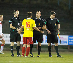 Albion Rover's Gary Fisher at Ref Gavin Duncan at the end. Albion Rover 1 v 2 Airdrie, Scottish League 1 game played 5/11/2016 at Cliftonhill.
