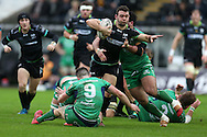 Tom Habberfield of the Ospreys © looks to go past John Cooney (9), Finlay Bealham (3) and Dennis Buckley of Connacht. Guinness Pro12 rugby match, Ospreys v Connacht rugby at the Liberty Stadium in Swansea, South Wales on Saturday 7th January 2017.<br /> pic by Andrew Orchard, Andrew Orchard sports photography.