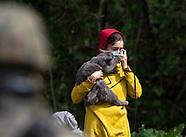 Migranci z kotem na granicy białorusko-polskiej - 20.08.2021