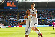 Goal - Courtney Baker-Richardson (46) of Swansea City celebrates scoring a goal to give a 1-0 lead to the home team with George Byers (28) of Swansea City during the EFL Sky Bet Championship match between Swansea City and Queens Park Rangers at the Liberty Stadium, Swansea, Wales on 29 September 2018.