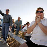 LAS VEGAS, NEVADA, November 12, 2007: Contestants from around the world gathered in Las Vegas, Nevada on November 12, 2007 to race their pigeons in the Las Vegas Classic. Participants like Michelle Sonnie wait with anticipation for hours for the birds to appear in the sky at the finish line.