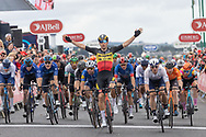 Wout van Aert of Team Jumbo-Visma wins Stage 8 and the general classification of the AJ Bell Tour of Britain 2021 between Stonehaven to Aberdeen, , Scotland on 12 September 2021.