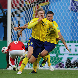 July 3, 2018 - Russia - July 03, 2018, St. Petersburg, FIFA World Cup 2018 Football, the playoff round. Football match of Sweden - Switzerland at the stadium of St. Petersburg. Player of the national team Goal; joy; victory; Champions; winner; Emile Forsberg. (Credit Image: © Russian Look via ZUMA Wire)