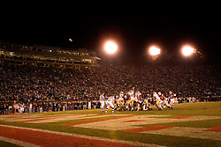 Stanford place kicker Mike Sgroi kicks a final field goal against Notre Dame. Last game at stadium before renovation. Stanford loses 38-31. These werer the final points scored at Stanford Stadium.