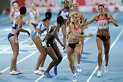 01-08-2010 ATLETIEK: EUROPEAN ATHLETICS CHAMPIONSHIPS: BARCELONA<br /> Germany (GER) - Silver Medal 4x400m Relay Women Final / LINDENBERG, Janin and HOFFMANN, Claudia <br /> ©2010-WWW.FOTOHOOGENDOORN.NL