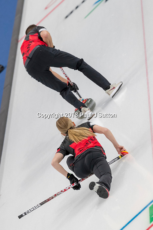John Morris and Kaitlyn Lawes (CAN) competing in the Mixed Doubles Curling round robin at the Olympic Winter Games PyeongChang 2018