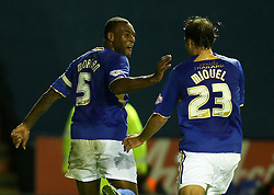 LEICESTER'S WES MORGAN CELEBRATES THE EQUALISER - Photo mandatory by-line: Matt Bunn/JMP - Tel: Mobile: 07966 386802 29/10/2013 - SPORT - FOOTBALL - King Power Stadium - Leicester City - Leicester City v Fulham - Capital One Cup - Forth Round