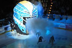 07.10.2011,  O2 World, Hamburg, GER, DEL, Hamburg Freezers vs Eisbaeren Berlin, im Bild Feature Einlauf der Freezers durch die Freezers-Maske. // during match at O2 World 2011/10/07, Hamburg  EXPA Pictures © 2011, PhotoCredit: EXPA/ nph/  Witke       ****** out of GER / CRO  / BEL ******