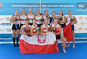 Rotterdam. Netherlands.   Women's Quadruple Sculls. Gold POL BW4X,  Bow. Marta WIELICZKO,  Krystyna  LEMANCZYK,  Olga MICHALKIEWICZ,  Katarzyna ZILLMANN, <br /> Silver medal GER BW4X, Bow Frauke HUNDELING, Anne BEENKEN, Juliane FARALISCH, Michaela STAELBERG,  <br /> Bronze Medalist FRA BM4X. Bow. Laura TARANTOLA, Camille JUILLET, Marie JACQUET,  Anne-Sophie MARZIN, Anne-Sophie. Awards Dock 2016 <br /> {WRCH2016}  at the Willem-Alexander Baan.   Thursday  25/08/2016 <br /> <br /> [Mandatory Credit; Peter SPURRIER/Intersport Images]