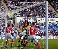 Photo: Alan Crowhurst.<br />Reading v Crewe Alexandra. Coca Cola Championship.<br />17/09/2005. Ivar Ingimarsson (Blue, Far Side) heads the winner for Reading.