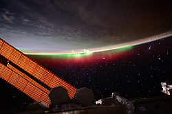 June 27, 2015 - Earth Atmosphere - Astronaut Scott Kelly posted this photo taken from the International Space Station to Twitter on June 27, 2015 with the caption, Day 92. Aurora is back in town. Good night from  YearInSpace. (Credit Image: ? Scott Kelly/NASA via ZUMA Wire/ZUMAPRESS.com)