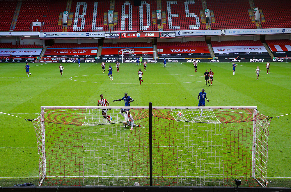 Sheffield United's Lys Mousset misses a chance<br /> <br /> Photographer Alex Dodd/CameraSport<br /> <br /> The Premier League - Sheffield United v Chelsea - Saturday 11th July 2020 - Bramall Lane - Sheffield<br /> <br /> World Copyright © 2020 CameraSport. All rights reserved. 43 Linden Ave. Countesthorpe. Leicester. England. LE8 5PG - Tel: +44 (0) 116 277 4147 - admin@camerasport.com - www.camerasport.com