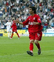 Photo. Andrew Unwin.<br /> Bolton Wanderers v Liverpool, Barclays Premiership, Reebok Stadium, Bolton 29/08/2004.<br /> Liverpool's Luis Garcia cannot believe it as his equalising goal is ruled offside<br /> NORWAY ONLY