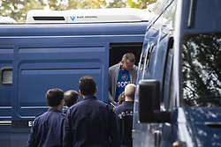 October 1, 2018 - Thessaloniki, Greece - Bitcoin Fraud and Launder suspect Alexander Vinnik is leaving the transportation van to enter the Greek Courts in Thessaloniki to be questioned by French Investigators on October 1, 2018 in Thessaloniki, Greece  (Credit Image: © Nicolas Economou/NurPhoto/ZUMA Press)