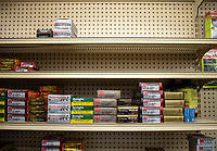 The top two shelves in the ammunition section at Stone Drug sit empty, normally stocked with 9mm and .223 ammunition. Ron Jacobson said bullets for handguns and assault-style weapons like the AR-15 surged when the COVID-19 pandemic reached Jackson.