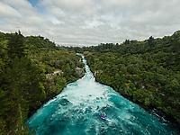 Aerial view of a jet boat below Huka Falls, Waikato River, Taupo, North Island, New Zealand